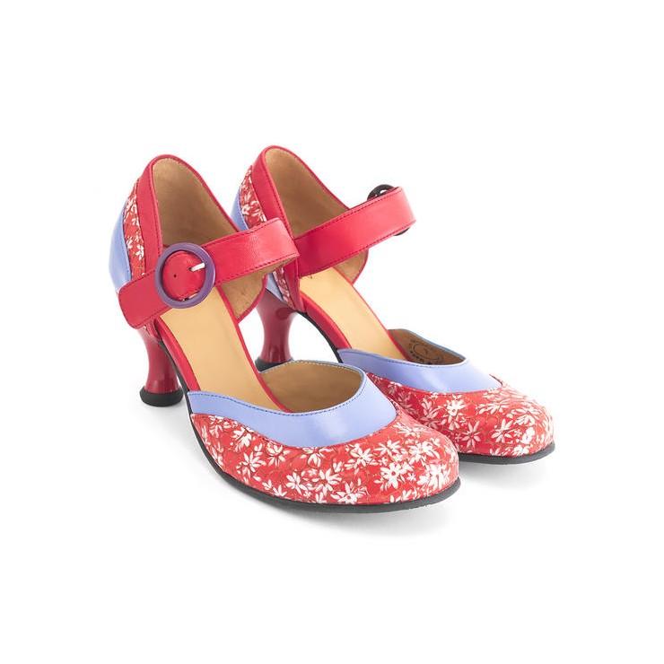 Bellevues - Bonnie Parker [Red Floral + Blue]