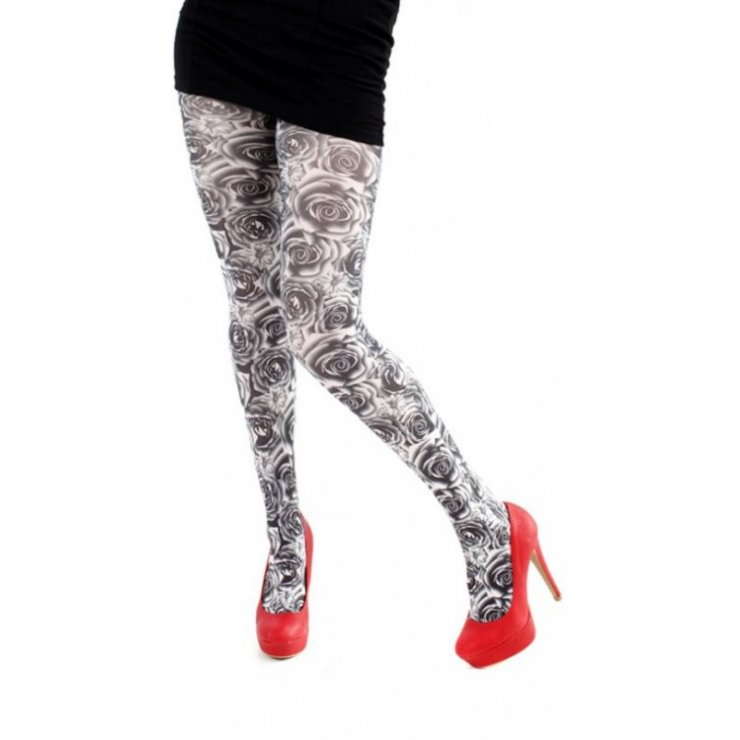 Monochrome Roses Tights