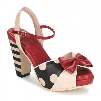 Angie P Sandal [Black + White + Red]
